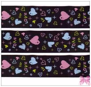 Valentine heart kiss grosgrain ribbon bow 2Y U PICK