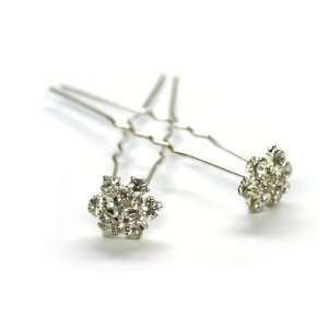 Beautiful Elegant Crystal Small Flower Hair Pins Sticks [PACK OF 6