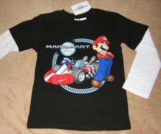 NINTENDO Mario Kart Wii Game Blk L/S Layer Shirt sz 7/8