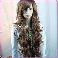 New Womens Fashion Elegant Full Long Curly Wave Brown Wig Hair