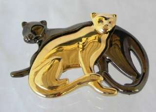 Liz Claiborne Black Gold Pin Brooch 2 Panthers Cats LC
