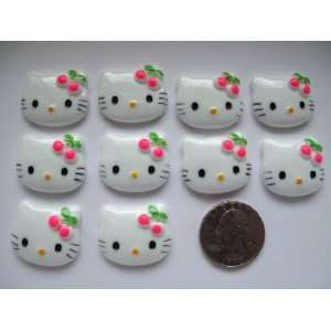 10 Large Resin Cabochon Flat Back Kitty Cat Hot Pink Cherry Cellphones