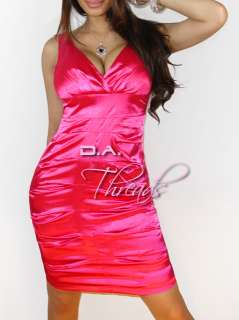 Heart Stopping! HOT Pink Satin Fitted Low Cut Bandage Dress Medium NWT