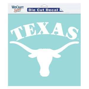 Texas Longhorns Die Cut Decal   8x8 White permanent