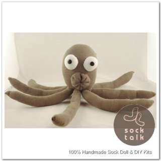 Handmade Sock Monkey Octopus Paul Stuffed Animal Doll