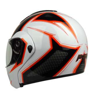 Orange Flip Up Modular DOT APPROVED Motorcycle Full Face Helmet