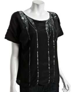 Love Sam black silk crepe sequin short sleeve blouse   up to