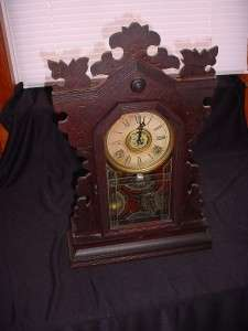 Vintage Gilbert Kitchen Mantel Shelf Clock Gingerbread