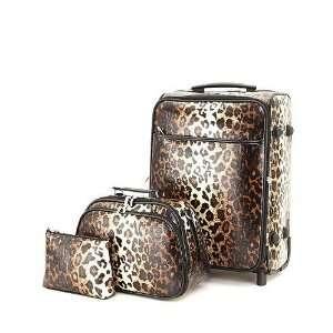 Leopard Animal Print 3pc Luggage Suitcase Train Case