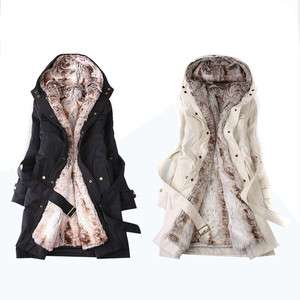 2011 Women 2 in 1 Faux Fur Winter Long Coat Outerwear