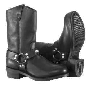 River Road Ranger Harness Studded Mens Black Leather Motorcycle Boots