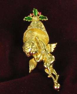 Vintage Xmas angel brooch pin bell holly enamel signed
