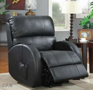 NEW PRICHARD BLACK TOP GRAIN BYCAST LEATHER POWER LIFT RECLINER CHAIR