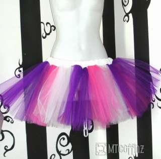Pink Purple White Striped Pixie Fairy Tulle TuTu Skirt