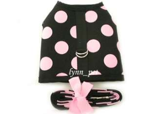 Black Pink Big Dots Pet Dog Puppy Harness Vest leash set