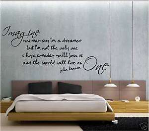 WALL QUOTE vinyl sticker IMAGINE john lennon beatles
