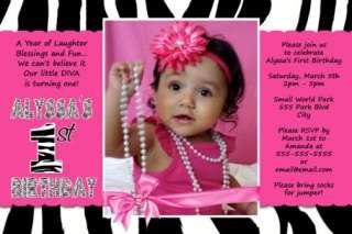 ZEBRA Hot Pink Baby Shower Invitation Ultrasound *WILD*