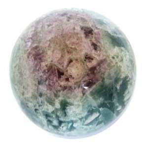 Fluorite Ball 03 Purple Flower Green Crystal Sphere Energy Healing 2.9