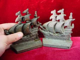 PAIR Antique CAST IRON BOOKENDS Book Ends CLIPPER SHIPS