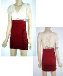 New Fashion Korea Women Lace Pleated Mini Dress Evening Party Short